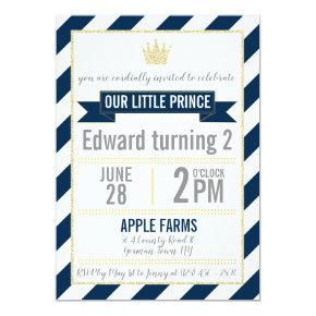 Navy Blue Gold Glitter Prince Birthday Invitations