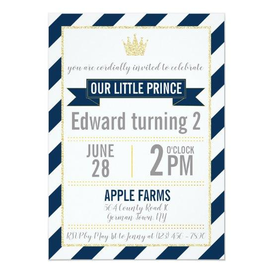 Navy blue gold glitter prince birthday invitations candied clouds navy blue gold glitter prince birthday invitations filmwisefo