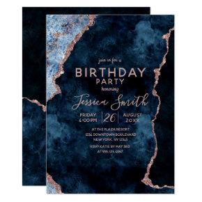 Navy Blue & Rose Gold Birthday Party Invitation