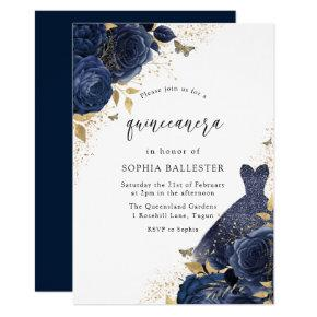 Navy Blue Roses & Dress Gold Quinceanera Party Invitation