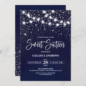 Navy Blue Silver Glitter Sparkles Lights Sweet 16 Invitation