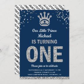 Navy Blue Silver Royal Prince First Birthday Invitation