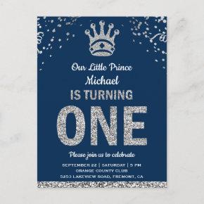 Navy Blue Silver Royal Prince First Birthday Invitation Post