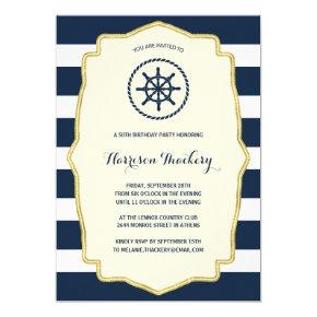 Navy Blue Stripes | Nautical Birthday Party Invitation