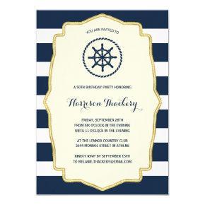 Navy Blue Stripes | Nautical Birthday Party Invitation