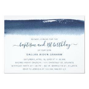 Navy Blue Watercolor Boy Baptism First Birthday Invitation