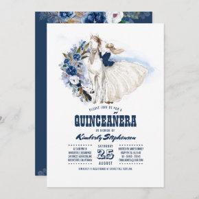 Navy Blue Western Quinceañera - 15th Birthday Invitation
