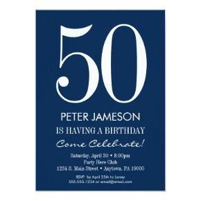 Navy Blue White Modern Adult Birthday