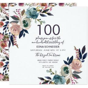 Navy & Blush Vintage Floral | 100th Birthday Invitations