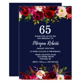 Navy Burgundy Floral 65TH Birthday Party Invite