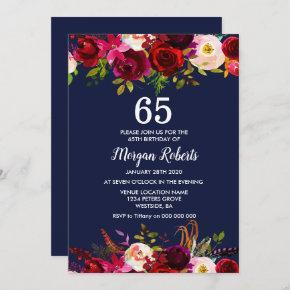 Navy Burgundy Floral 65TH Birthday Party Invite