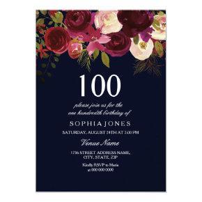 Navy & Burgundy Flower 100th Birthday Party Invite