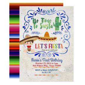 Navy Cactus Boy Mexican Fiesta 1st Birthday Invitation