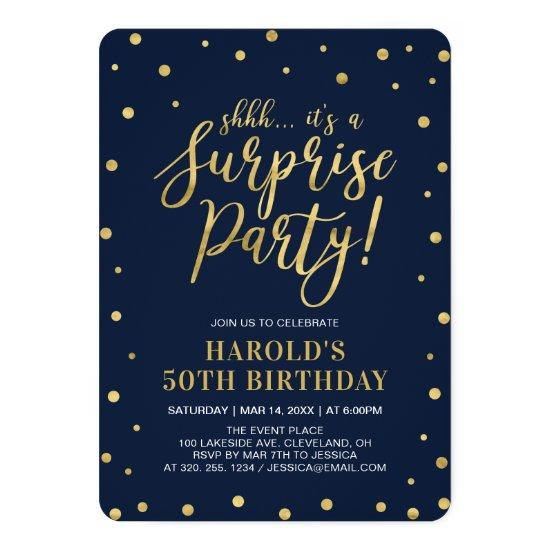 Navy & Gold | Adult 50th Surprise Birthday Party