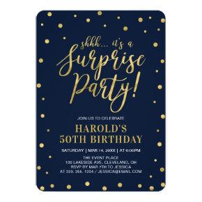 Navy & Gold | Adult 50th Surprise Birthday Party Invitations