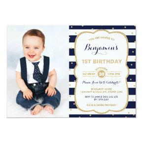Navy Gold Boy 1st Birthday Invitation Prince Party