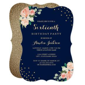 Navy Gold Floral Confetti 16th Birthday Party Card