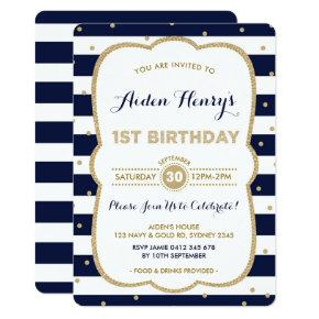 Navy & Gold Royal Prince 1st Birthday Invitation