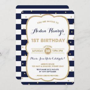 Navy & Gold Royal Prince 1st Birthday Invitation