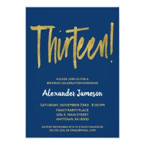 Navy Gold Script 13th Birthday Party Invitations