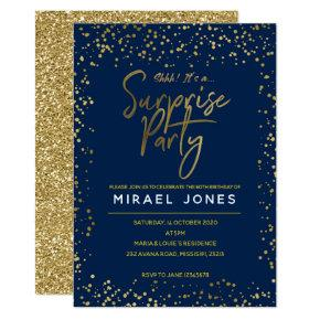 Navy & Gold Surprise Birthday Party Invitation car