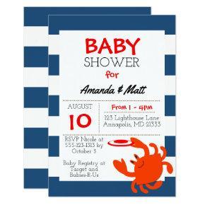 Navy Nautical Crab Baby Shower Invitations