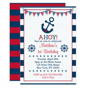 Navy & Red Nautical Anchor 1st Birthday Invitation