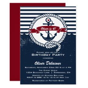 Navy Red Rustic Nautical Kids Birthday Invitation
