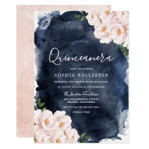 Navy Watercolor Beautiful Blush Floral Quinceanera Invitation