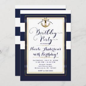 Navy White & Gold Anchor Nautical Birthday Party Invitation