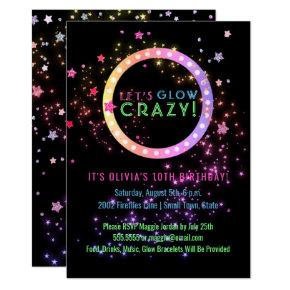 Neon Glow in the Dark Party | Kids Birthday Invitations