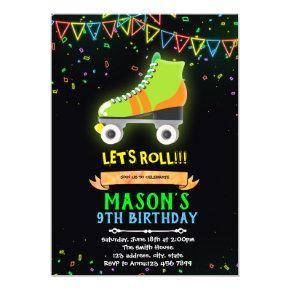 Neon glow roller skate theme birthday invitation