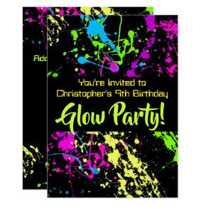 Neon Paint Splatter Glow /Laser Tag Birthday Party Invitation