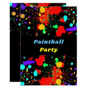 Neon Paint Splatter, Paintball Party Invitation