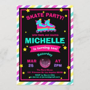 Neon Roller Skating Chalkboard Rainbow Birthday Invitation