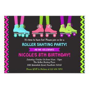 Neon Roller Skating Invitation