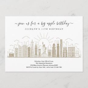 New York City Big Birthday Apple Party Gold Invitation