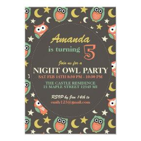 Night Owl Birthday Party Invitations for Kids