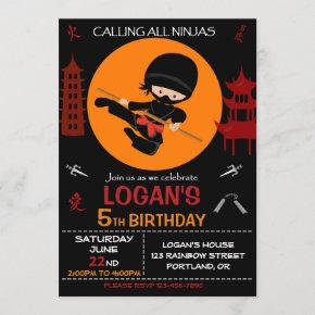 Ninja birthday invitation Ninja warrior invite