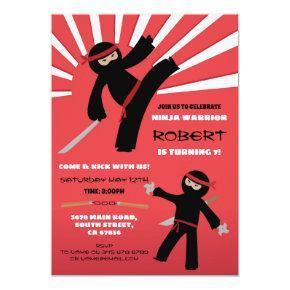 Ninja Birthday Party Warrior Red Boy's Fun Invitation