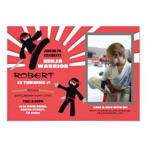 Ninja Birthday Party Warrior Red Boy's Fun Photo Invitation