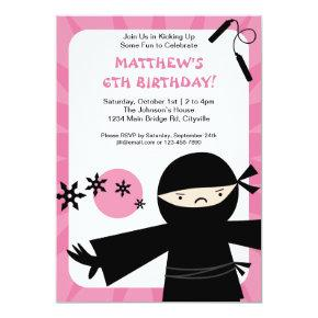 Ninja Power Pink Invitation