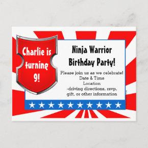 Ninja Warrior Birthday Party Kids Boys Patriotic Invitation Post