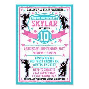 Ninja Warrior Girls Pink Teal Birthday Party Invitation