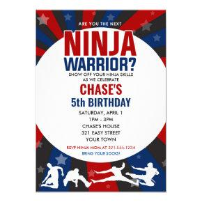 Ninja Warrior Themed Birthday Invitation