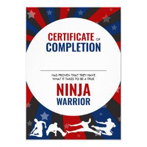 Ninja Warrior Themed Certificate of Completion Invitation