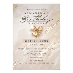 NO AGE Modern Elegant Faux Gold Foil Birthday Invitation