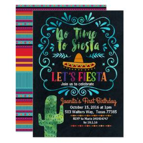 No Time to Siesta Birthday Invitation chalkboard