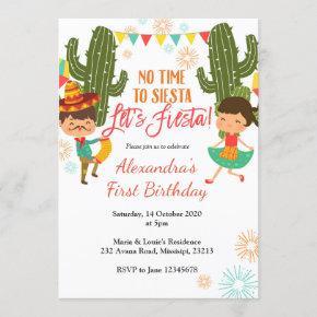 No time to siesta let's fiesta birthday invitation
