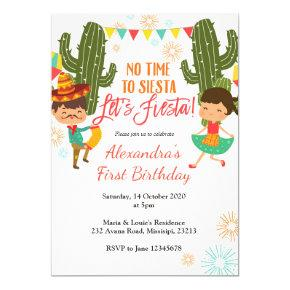No time to siesta let's fiesta birthday Invitations